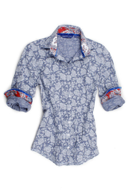 The wow has arrived! Crisp and detailed beautiful shades of blue tone on tone cabbage rose pattern perfectly detailed with a Red and royal paisley contrast chiffon inside the collar and cuffs. The collar sits beautifully with our two button collar stand slightly higher in the back to show a soft blue sequin trim detail. Long Sleeves. 100% Cotton
