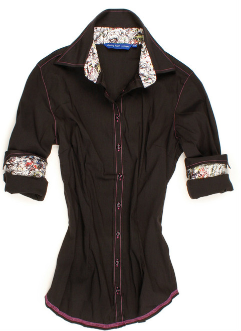 Something new. Something classic. The so soft and comfy black long sleeve stretch blouse is detailed with a Liberty of London floral contrast inside the collar stand & cuffs. All seams are finished with contrast stitching in magenta.