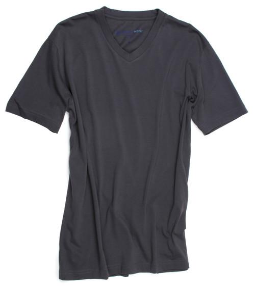 Luxury V-Neck Short Sleeves Pima Cotton Mens Tshirt Grey TVSS-7024