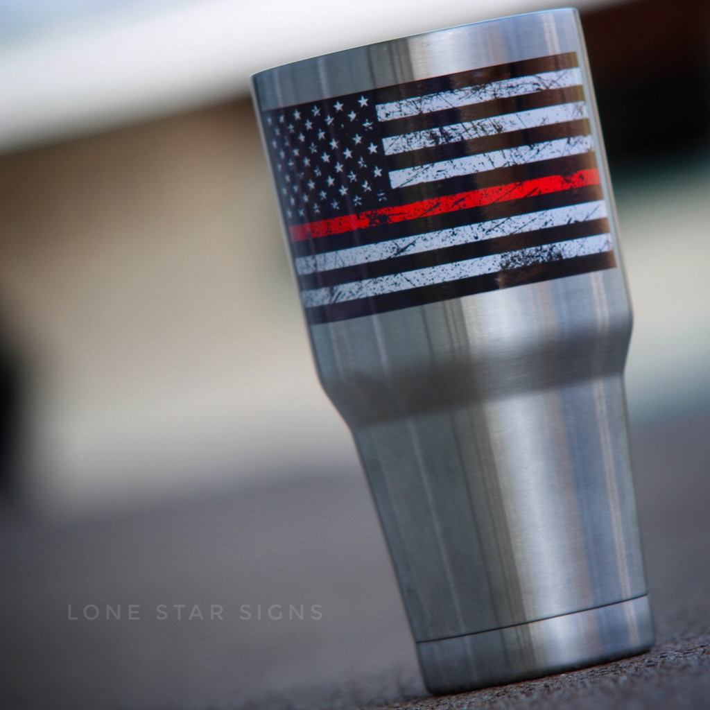 Thin Red Line Firefighter Flag