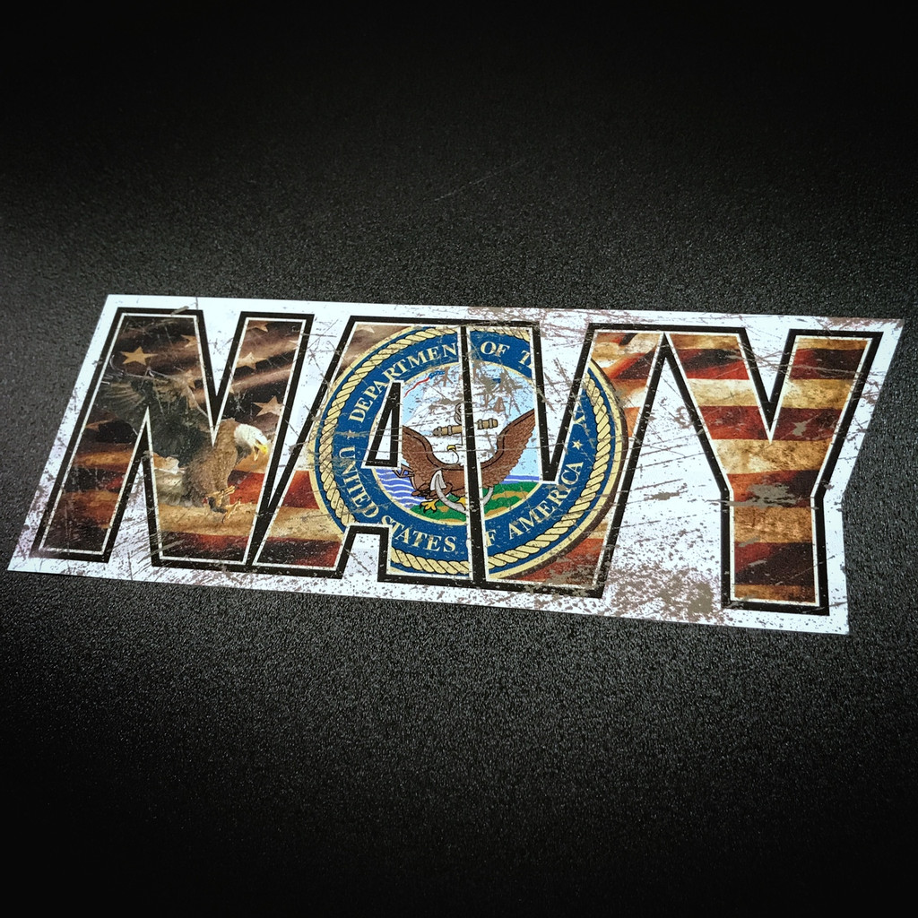 Navy Flag Lettering - Sticker