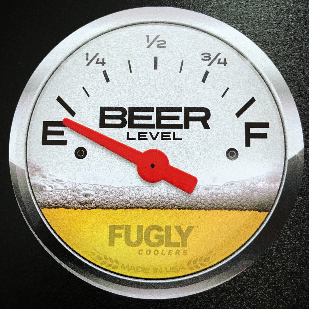Fugly Coolers Beer Gauge Level Sticker