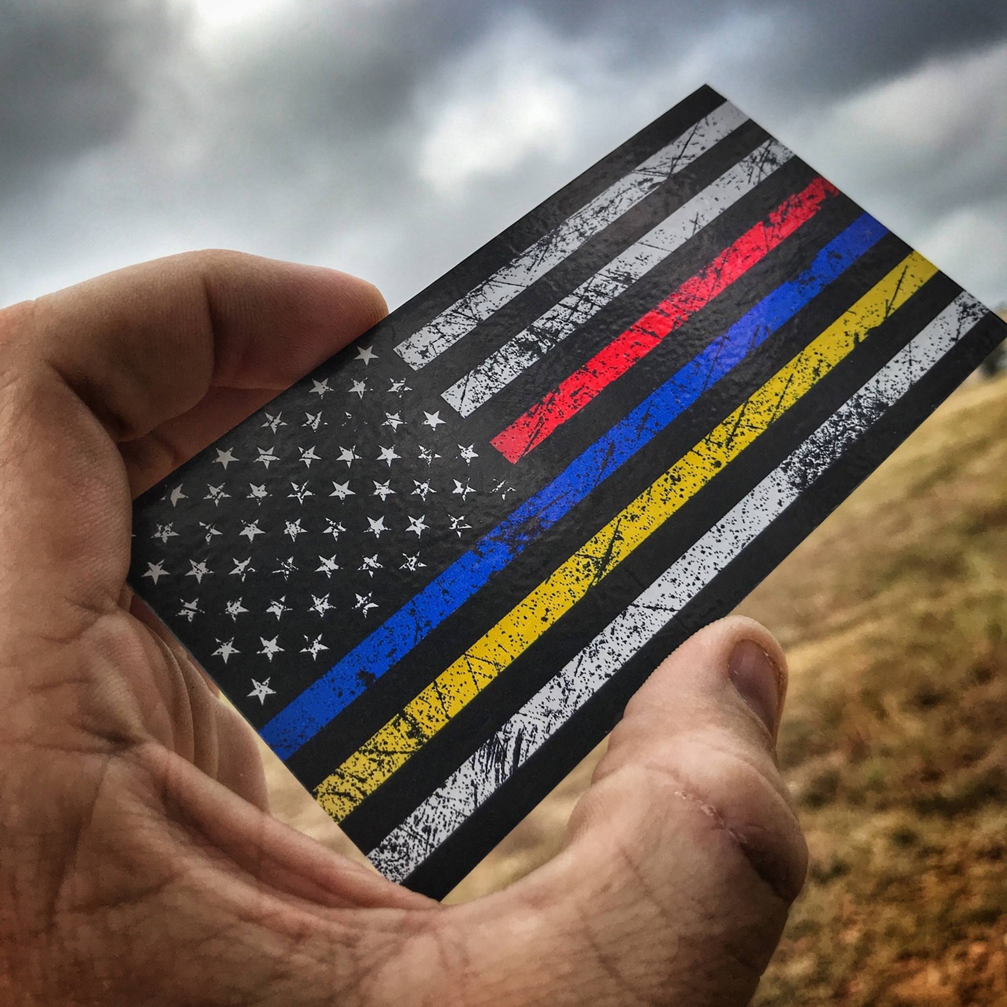 American flag rustic red blue yellow sticker colourmoves