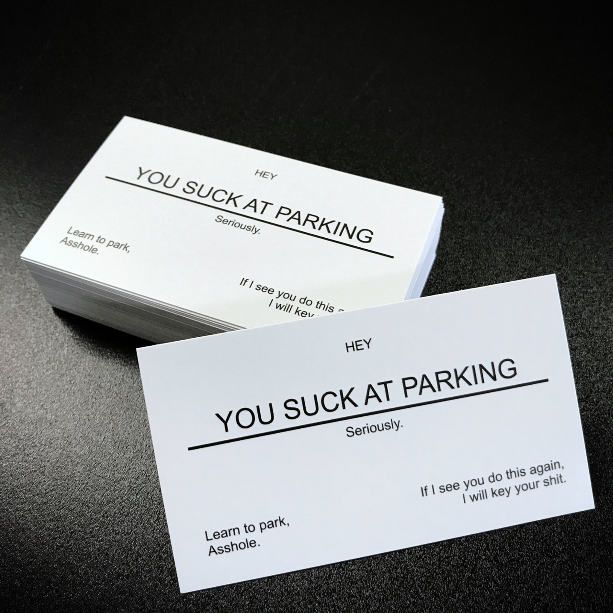 YOU SUCK AT PARKING Business cards (10 pack) white