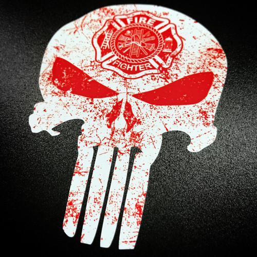 Punisher Firefighter Fireman Firemen White sticker
