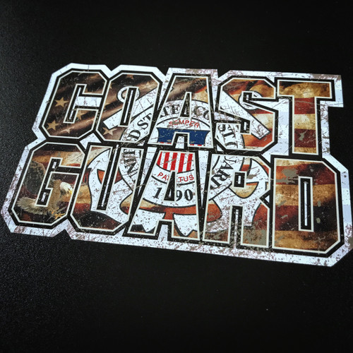 Coast Guard Flag Lettering - Sticker