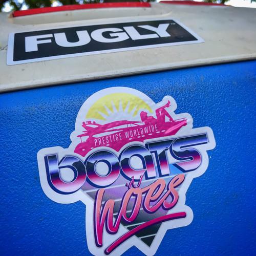 Fugly Coolers Prestige Worldwide Boats N Hoes - Sticker