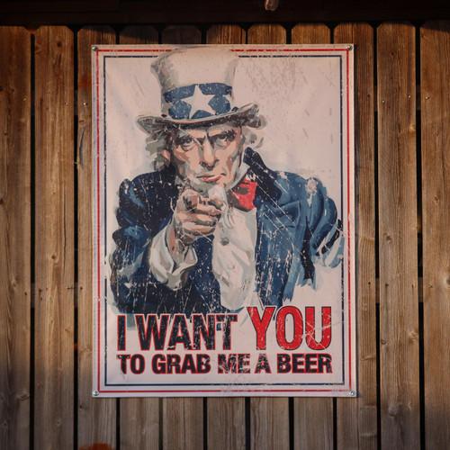 Uncle Sam Grab Me A Beer - Banner
