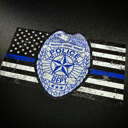 Thin Blue Line Police Badge Flag - Sticker