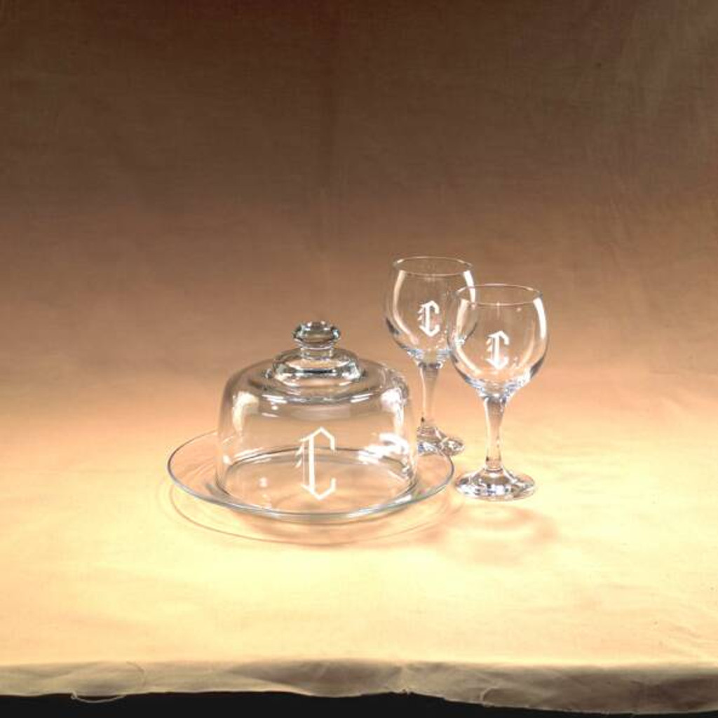 Monogrammed Cheese Dome and Wine Glass Set