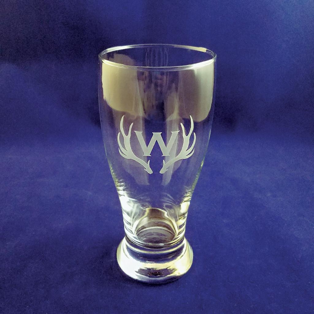 Monogrammed Antler Beer Glass