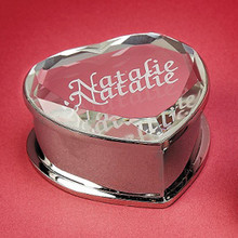 Personalized Mirrored Heart Jewelry Box