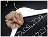 Burlap flower on White hanger - 2 lines of personalisation