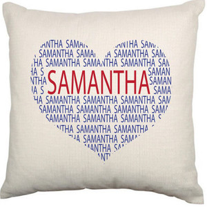 Personalised Name Cushion Cover (Heart)