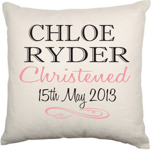 Personalised Christening Cushion Cover (Elegant)