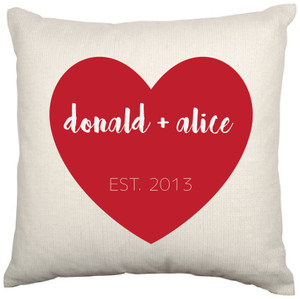 Personalised Couples Cushion Cover (Heart)