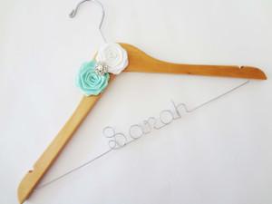 Personalised Adult Hanger with 2 Satin Roses & Rhinestone