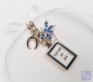 Bouquet Charm - DIY - Double Sided w/ something blue & horseshoe