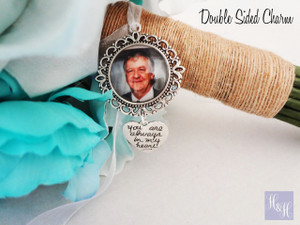 Double Sided Round Bouquet Photo Charm - Chandon Design