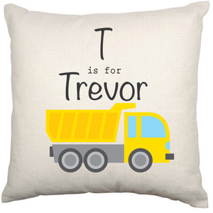 Personalised Childrens Cushion Cover (Construction)