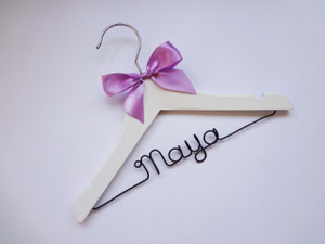 Personalised Child White Hanger with lilac bow, and Black wire