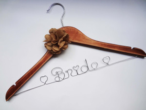 Personalised Adult Rustic Hanger with Burlap Flower