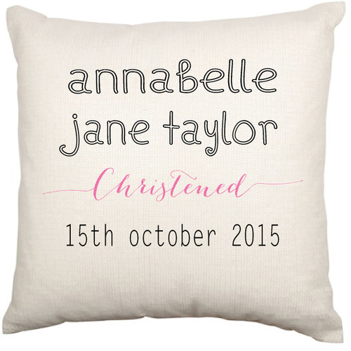 Personalised Christening Cushion Cover (Modern)