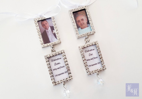 Bouquet Charm- Double Rhinestones with Photo (Silver) - Jamison Design