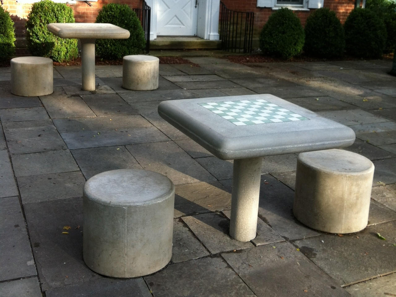 Concrete Fixed Chess Table and Stool Set & Concrete Fixed Chess Table and Stool Set - Kenneth Lynch and Sons