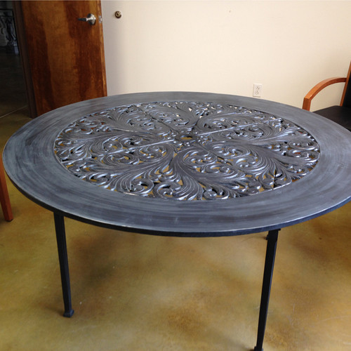 "Filigree Design 60"" Diameter Dinning Table with Pedestal Leg"