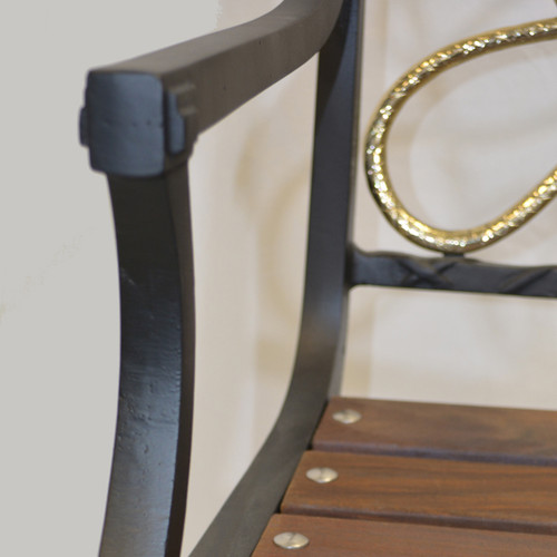 Fox Hunt Series Chair with Wood seat and Brass backs