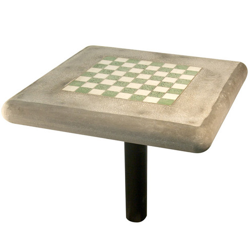 Concrete Chess Table with Round Steel Post Leg