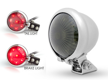 Chrome LED Stop Taillight for Retro Vintage Project Custom Motorcycle Motorbike
