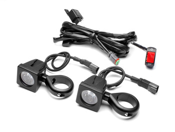 10W LED Motorbike Spotlight Kit with Wiring Harness, Switch, Fork Clamps