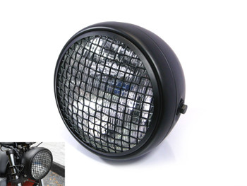 "7.7"" Matt Black Mesh Grill H4 55w Metal Project Motorcycle Motorbike Headlight"