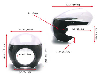 BLACK Universal Classic Cafe Racer Headlight Fairing Cowl with Clear Windshield