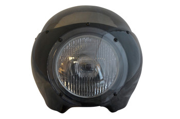 """BLACK Cafe Racer Fairing Cowl with Tinted Windshield and 6 3/4"""" Chrome Headlight"""