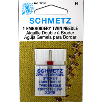 Schmetz Embroidery Twin Needle - Size 2.0/75
