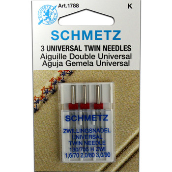 Schmetz Twin Needles - Assorted Sizes (1.6/70, 2.0/80, 3.0/90)