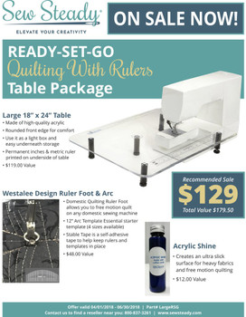 """Sew Steady Ready Set Go Large 18"""" x 24"""" Table Pkg Fits All Models"""