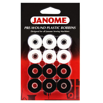 Janome 12 Pack Pre-Wound Plastic Bobbins White and Black Thread