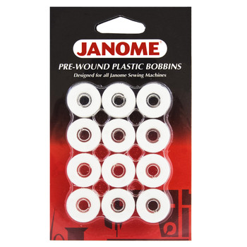 Janome 12 Pack Pre-Wound Plastic Bobbins White Thread