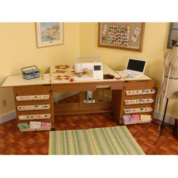 Beautiful Arrow 98700 Bertha Oak Embroidery Machine Airlift Credenza With Quilting  Extension
