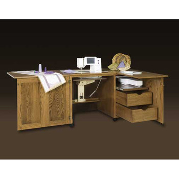 Schrocks of Walnut Creek Embroidery Cabinet Duo in Real Oak Wood and Your Choice of Stain