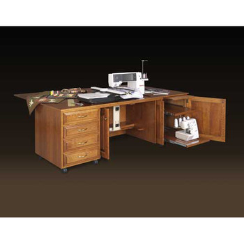 Schrocks of Walnut Creek Custom Embroidery Cabinet with Drop Leaf (duo) in Real Cherry Wood