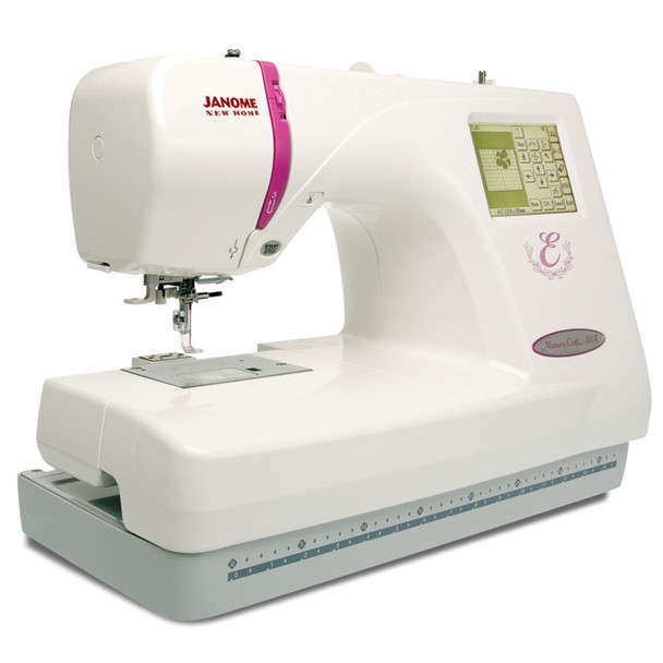 Janome Memory Craft 350E Embroidery Machine (Refurbished) - Quarter front view