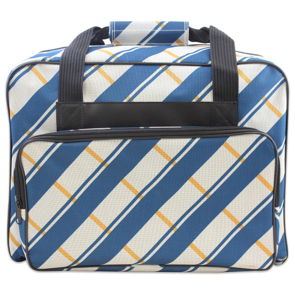 Janome Sewing Machine Tote in Blue and Gray Plaid Pattern $29.99