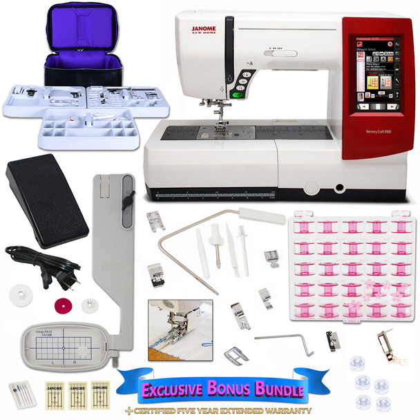 Janome Memory Craft 9900 Sewing Machine with New Exclusive Bonus Bundle
