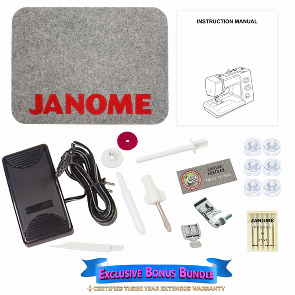 Janome Magnolia 7318 - Sewing Machine with Exclusive Bonus Bundle Includes a 3 Year Nationwide Extended Warranty Plan