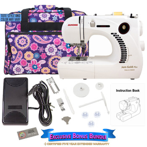 Janome Jem Gold Plus 661G Trim & Stitch Sewing Machine with Exclusive Bonus Bundle